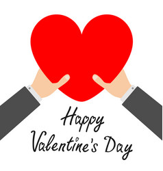happy valentines day businessman hands arms vector image