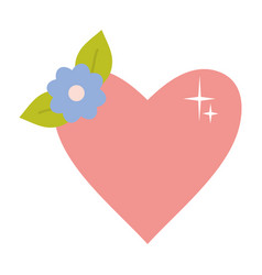 heart love with flower decoration pop art style vector image