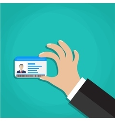 Id cards in hand vector image vector image