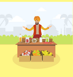 Indian man selling spices and fruits at vector