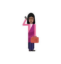 indian woman with bag talking on smartphone vector image