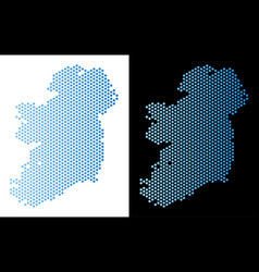 Ireland countries map hex-tile mosaic vector