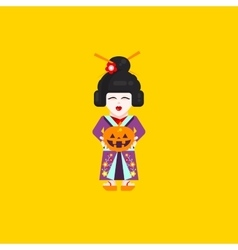 Japanese geisha character for halloween in a flat vector image