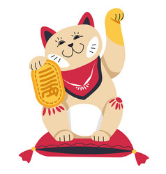japanese or chinese waving cat figuring statue vector image