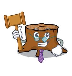 Judge tree stump mascot cartoon vector
