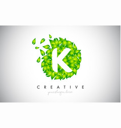 k green leaf logo design eco logo with multiple vector image