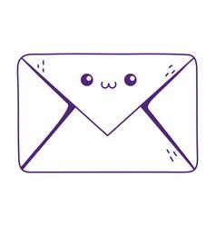 Kawaii envelope message cute cartoon isolated icon vector