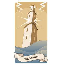 major arcana tarot cards the tower large tower vector image