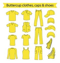 Menswear headgear shoes buttercup collection vector