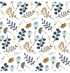 Modern seamless pattern with leaves flowers and vector
