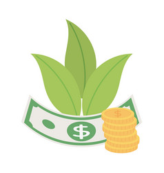 money banknote and coins currency isolated icon vector image