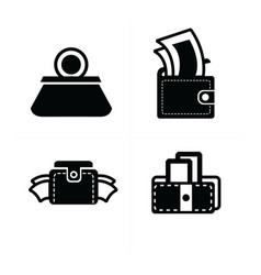 Money in wallet set icon vector