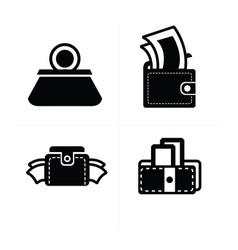 money in wallet set icon vector image