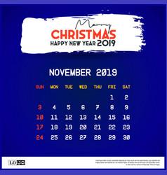 November 2019 calendar template merry christmas vector