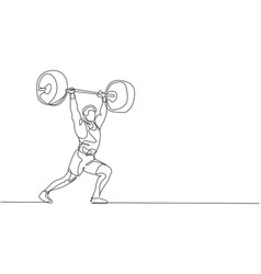 One continuous line drawing young bodybuilder vector