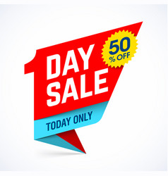 one day sale paper style banner design today only vector image