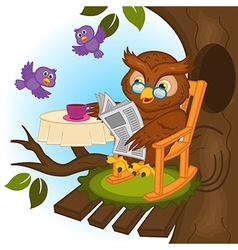 owl drinking tea and reading newspaper vector image