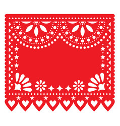 Papel picado red floral template design vector
