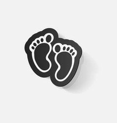 Paper clipped sticker footprint symbol vector