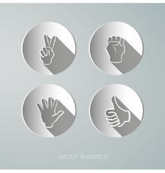paper icons hands vector image