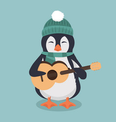 penguin wearing a green hat and scarf with guitar vector image