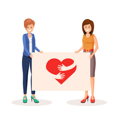 people holding poster vector image