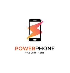 phone with bolt logo vector image