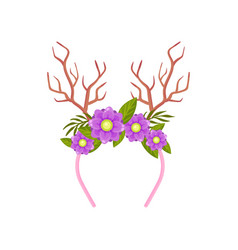 Pink rim with branches in form deer horns vector
