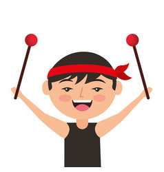 portrait cartoon man chinese with drumsticks vector image
