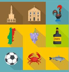 Portuguese language icons set flat style vector