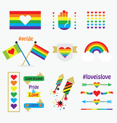 pride rainbow flags icons design elements set vector image