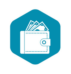 Purse with money icon simple style vector