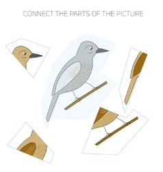 Puzzle game for children bird vector image