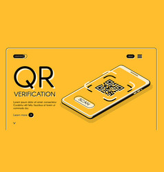 Qr code verification app website template vector