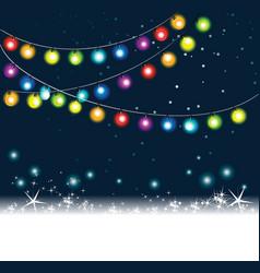 Rainbow christmas tree lights vector