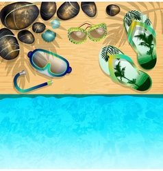 Relaxing Day at the Beach with Snorkels vector