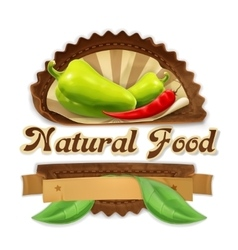 Ripe peppers label design vector image