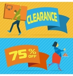 Sale banners with shopping people vector