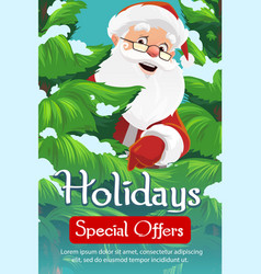 santa christmas tree and snow xmas sale vector image