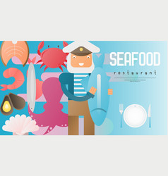 seafood restaurant banner vector image