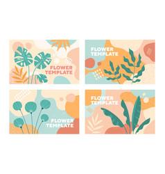 set four vintage style flower templates vector image