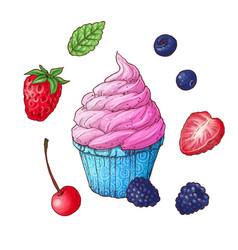 Set ice cream cone vector