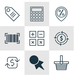Set of 9 e-commerce icons includes discount vector