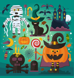 Set of cute ghost cat castle scull pumpkin vector