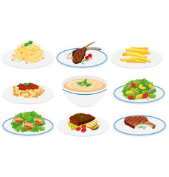 set of healthy dishes vector image