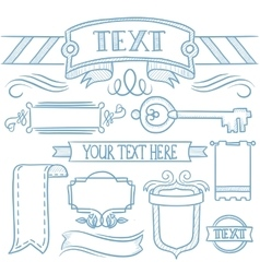 Set of vintage ribbons frames and elements vector image