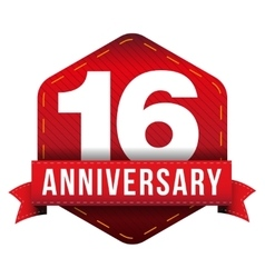 Sixteen year anniversary badge with red ribbon vector image