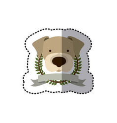 sticker crown leaves and label with beagle dog vector image
