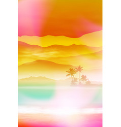 summer background with sea and palm trees vector image