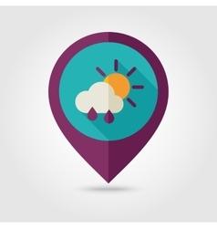 Sun Rain Cloud flat pin map icon Weather vector image